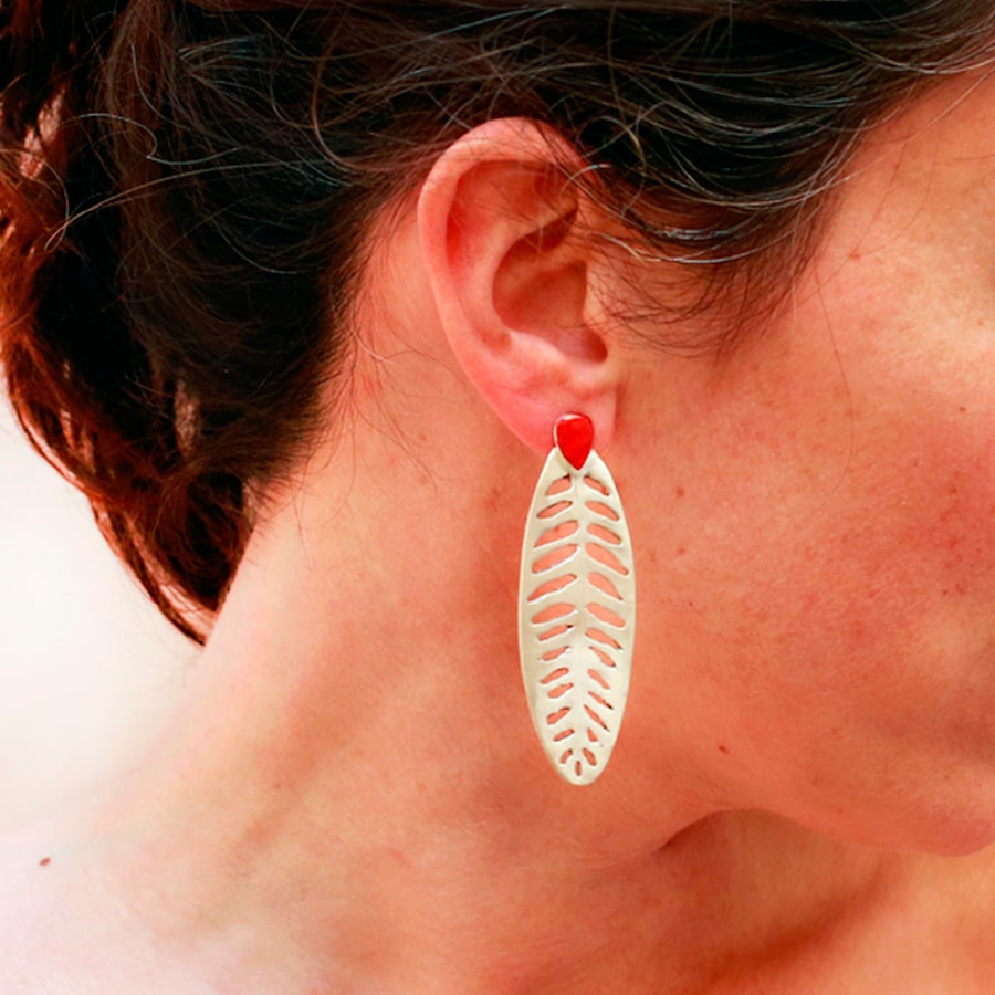 Handmade Long sterling silver earrings Afgana